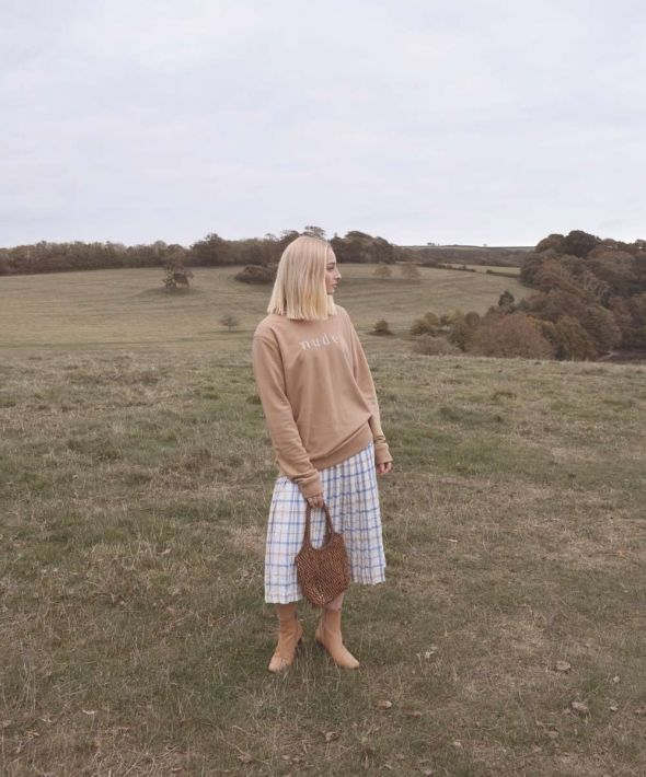 Nude Organic Embroidered Brown Jumper