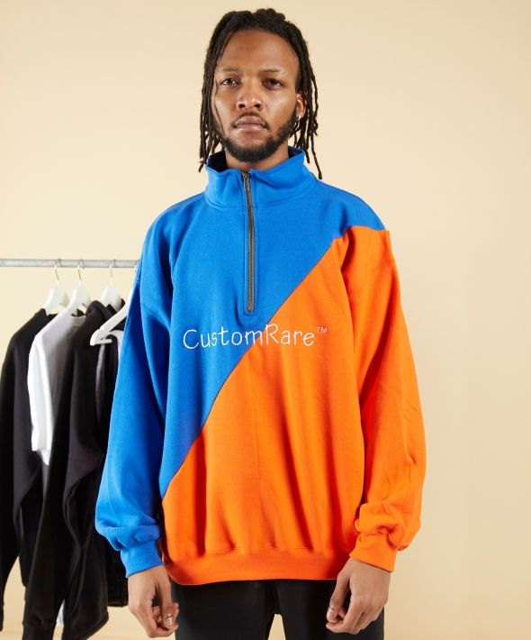 1/4 Zip Jumper in Orange/Blue With White Embroidery