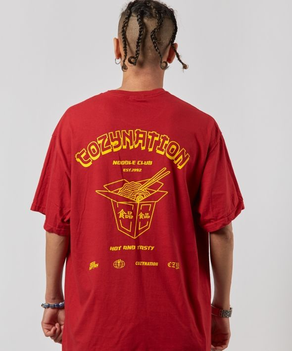 Red Oversized Noodle Club T-shirt