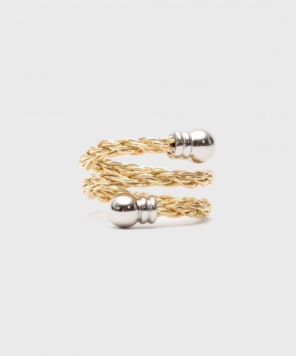 Gold Plated Silver Rope Ring