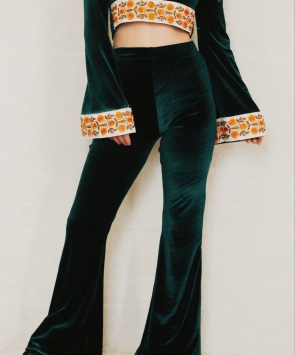 Green High Waisted Velvet Bell Bottom Flares