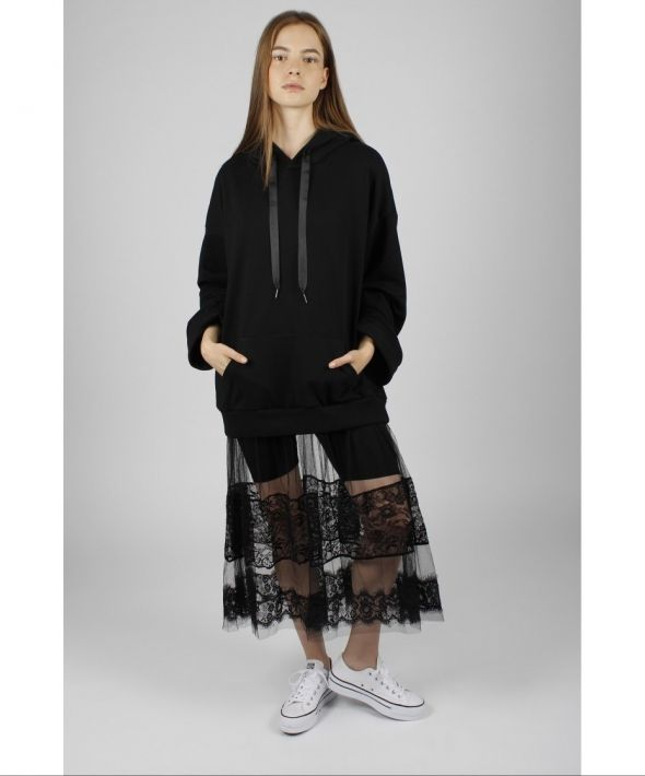 Black Hoodie with Mesh Skirt