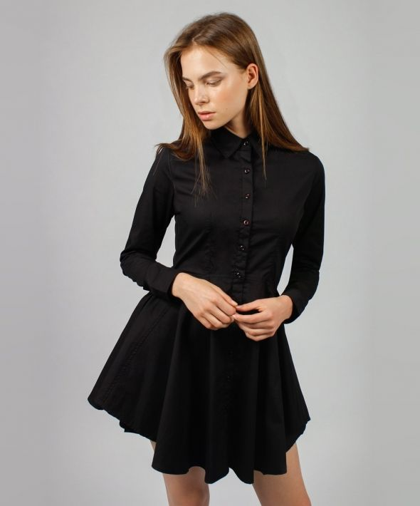 Black Shirt Dress with Circle Skirt