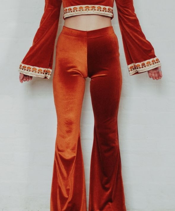 Rust High Waisted Velvet Bell Bottom Flares