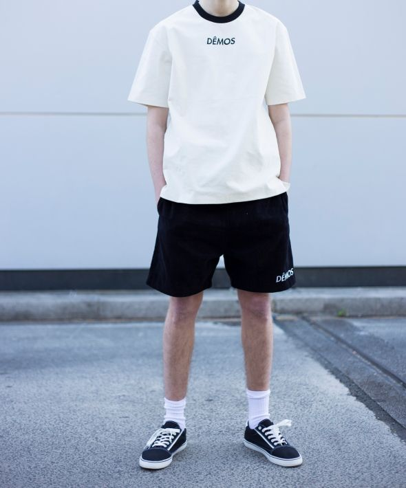 Demos black logo corduroy Shorts