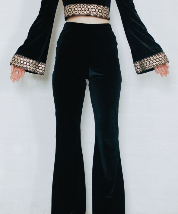 Black  High Waisted Velvet Bell Bottom Flares