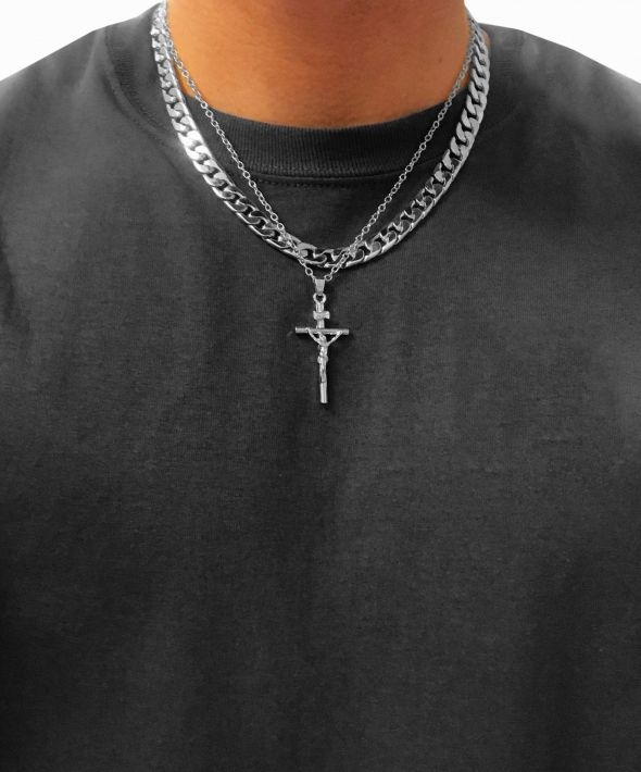 54 Floral Layer Crucifix  Heavy Chunky Curb Necklace Chain - Silver