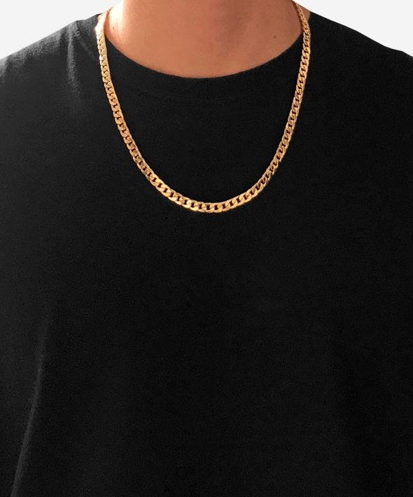 54 Floral Heavy Chunky Curb Necklace Chain - Gold