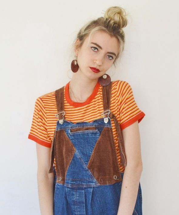 Vintage full length cord patchwork dungarees denim overalls