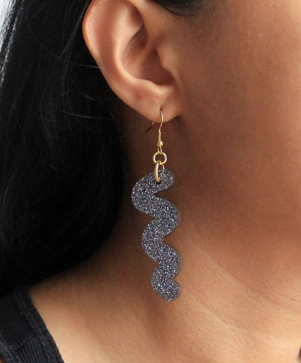 Glittery squiggle hook earrings in silver