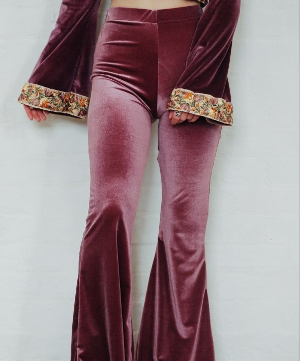 Lilac High Waisted Velvet Bell Bottom Flares