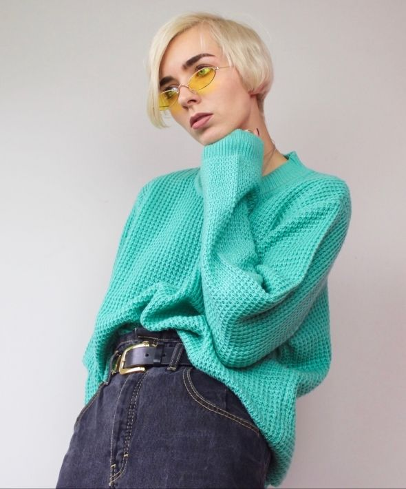 Oversized Turquoise Knit Jumper
