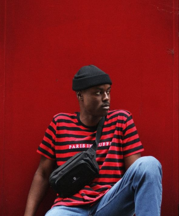 Red Striped Embroidered Tshirt