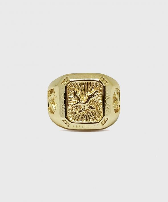 Gold Plated Silver Eagle Ring