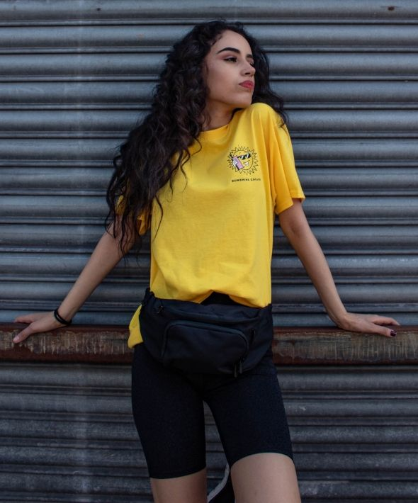 SUNSHINE CALLING yellow tshirt with graphic print