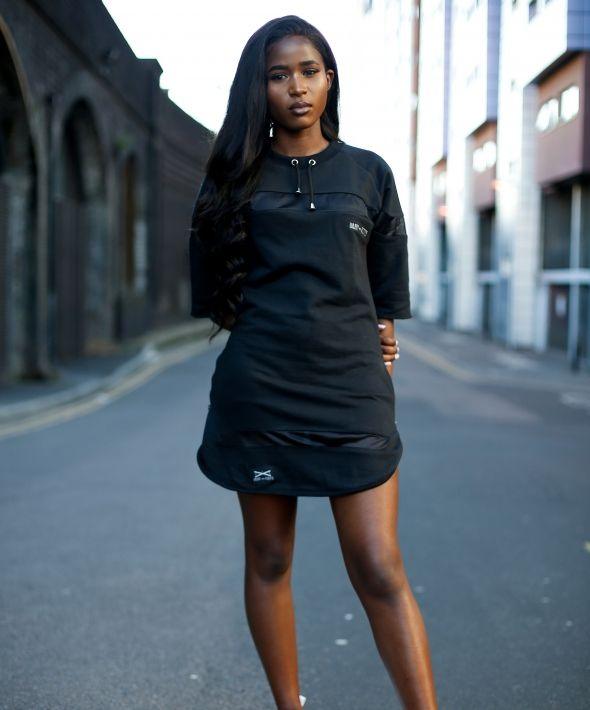 Oversize Black Curve Hem Dress T-Shirt with Mesh
