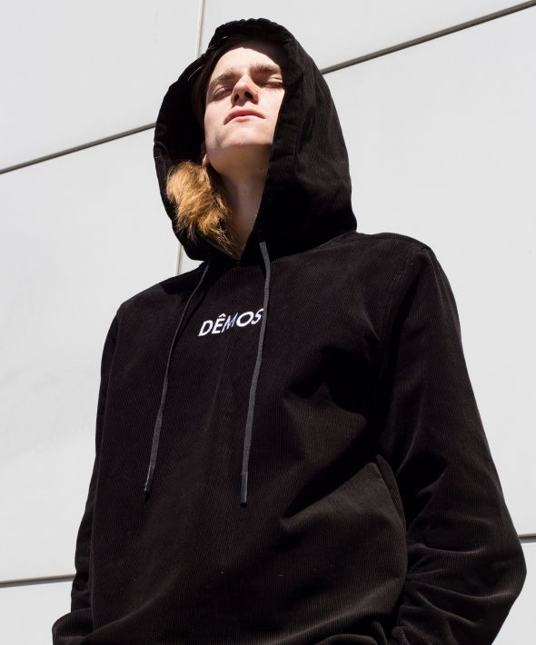 Demos Black logo corduroy Hoodies