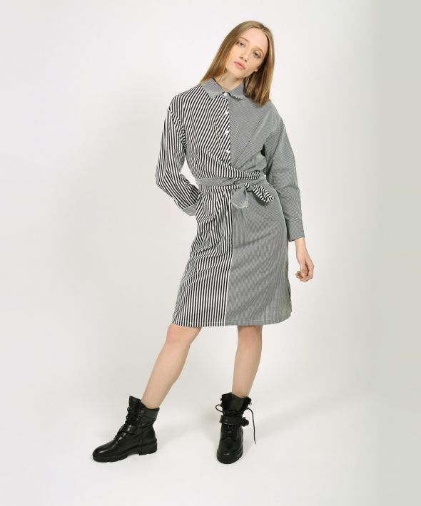 Two-Type Stripe Shirt Dress