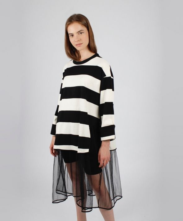 Black and White Striped Jumper Dress