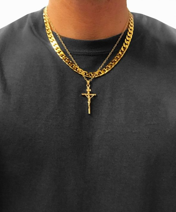 54 Floral Layer Crucifix  Heavy Chunky Curb Necklace Chain - Gold
