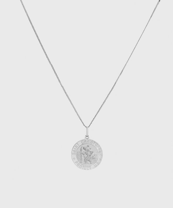 """54 Floral Keena 22"""" St Christopher Pendant Necklace Chain - Silver"""