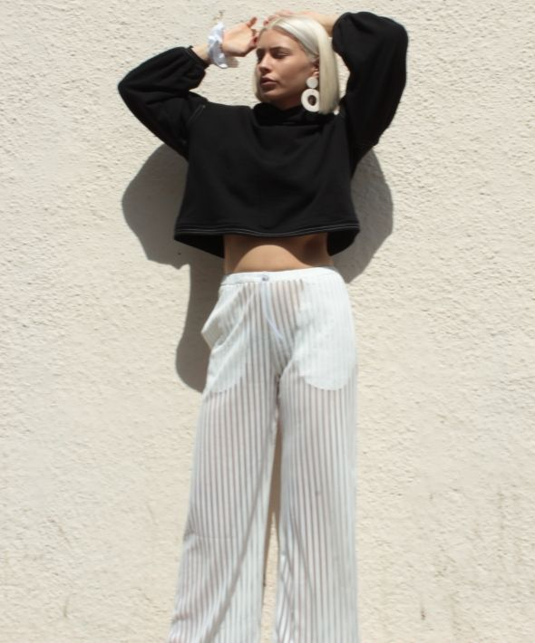 White sheer striped track pants