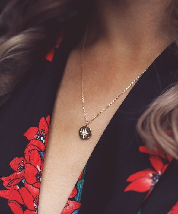 NORI. Gold Filled North Star Coin Pendant Necklace